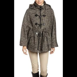 NEW Calvin Klein Womens Tweed Cape Coat Small/Med